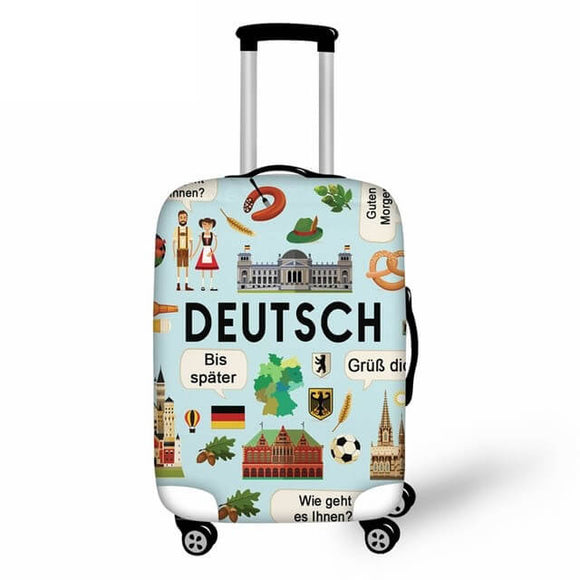 Germany DEUTSCH Prints | Premium Design | Luggage Suitcase Protective Cover - Small - Luggage Cover Encompass RL