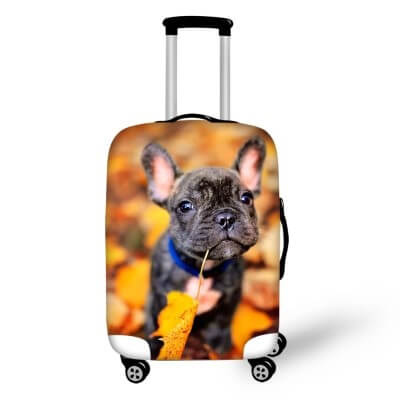 Pug Dog Autumn | Premium Design | Luggage Suitcase Protective Cover - Small - Luggage Cover Encompass RL