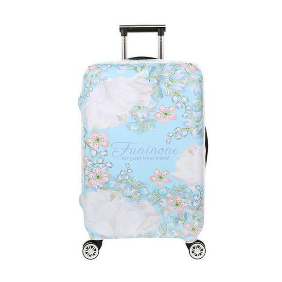 Pastel Blue Flowers #1 | Standard Design | Luggage Suitcase Protective Cover - Small - Luggage Cover Encompass RL
