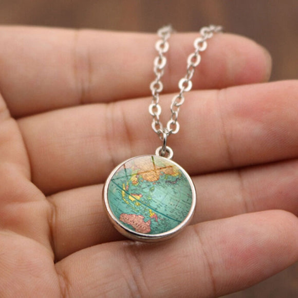 Globe Map Double Sided Necklace - silver - Wanderlust Gifts Encompass RL