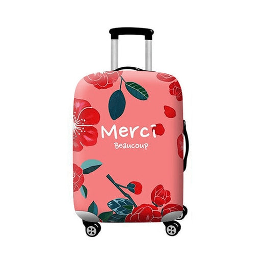 Pastel Red Floral Merci Beaucoup | Standard Design | Luggage Suitcase Protective Cover - Small - Luggage Cover Encompass RL