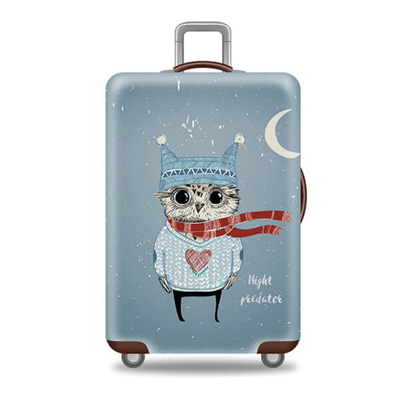 Night Predator Winter Owl | Standard Design | Luggage Suitcase Protective Cover - Small - Luggage Cover Encompass RL