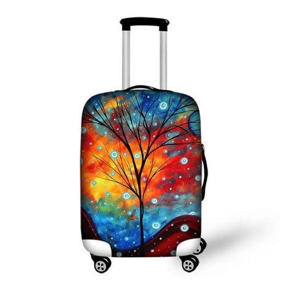 Sunset Tree Painting | Premium Design | Luggage Suitcase Protective Cover - Small - Luggage Cover Encompass RL
