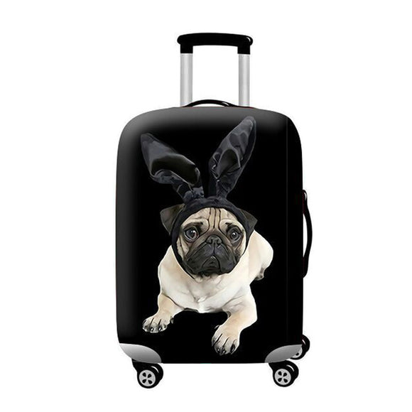 Pug Dog Bunny Ears | Standard Design | Luggage Suitcase Protective Cover - Small - Luggage Cover Encompass RL