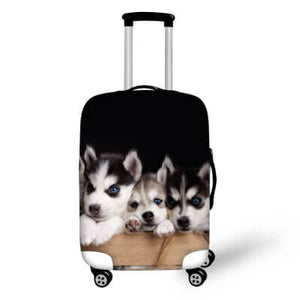 Husky Puppies | Premium Design | Luggage Suitcase Protective Cover - Small - Luggage Cover Encompass RL