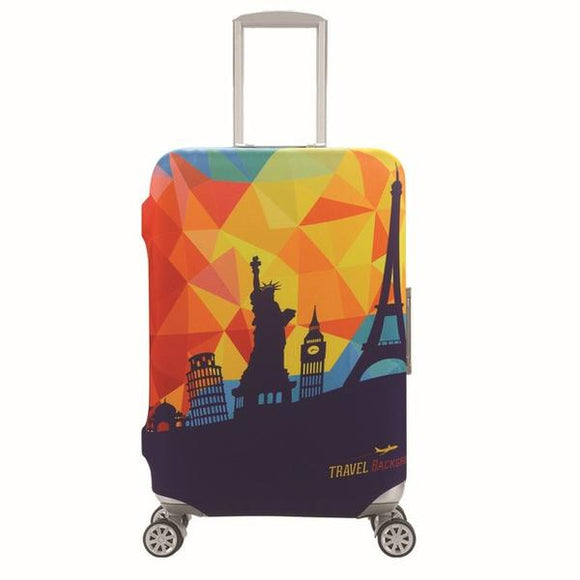 Colorful Travel Landmarks | Standard Design | Luggage Suitcase Protective Cover - Small - Luggage Cover Encompass RL