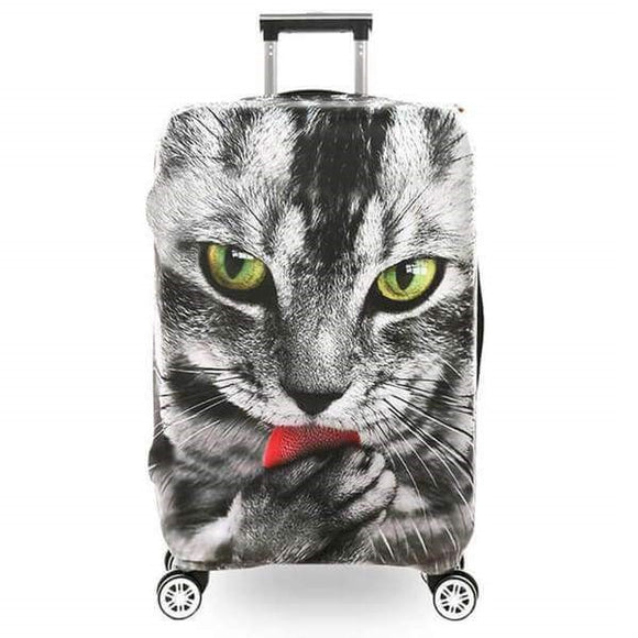Cat Licking Paw | Premium Design | Luggage Suitcase Protective Cover - Small - Luggage Cover Encompass RL