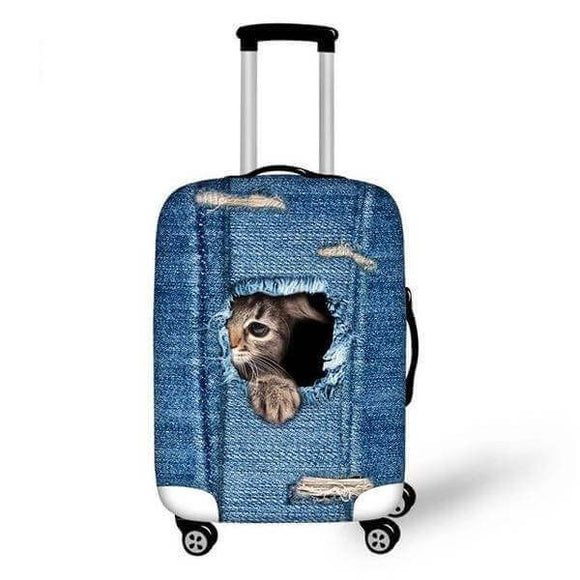 Cat Ripping Denim #2 | Premium Design | Luggage Suitcase Protective Cover - Small - Luggage Cover Encompass RL