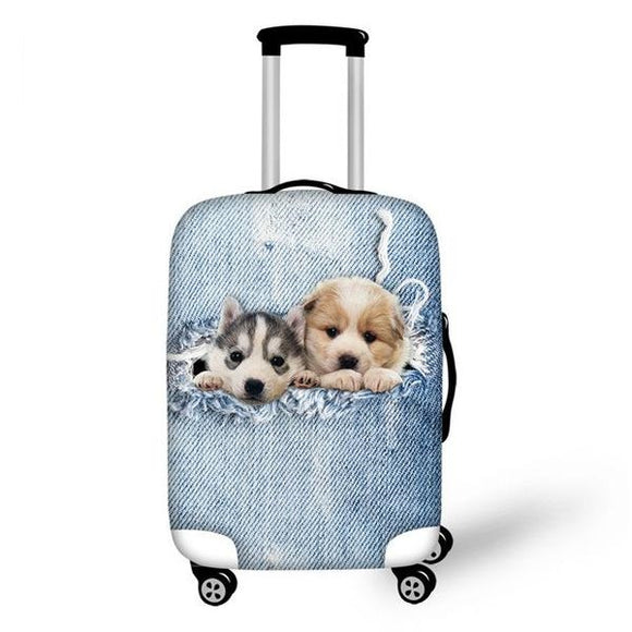 Puppies Ripping Denim | Premium Design | Luggage Suitcase Protective Cover - Small - Luggage Cover Encompass RL