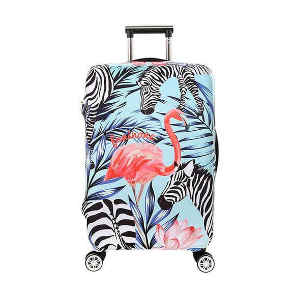 Tropical Flamingo Zebra | Premium Design | Luggage Suitcase Protective Cover - Small - Luggage Cover Encompass RL