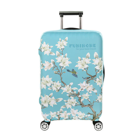 Pastel Blue Flowers #2 | Standard Design | Luggage Suitcase Protective Cover - Small - Luggage Cover Encompass RL
