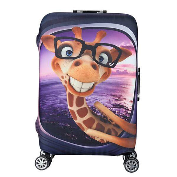 Giraffe in Glasses | Standard Design | Luggage Suitcase Protective Cover - Small - Luggage Cover Encompass RL