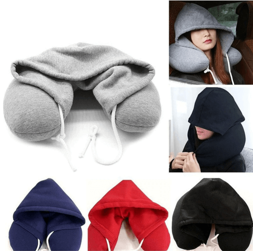 Memory Foam Hooded Pillow | Hoodie Travel Neck Pillow