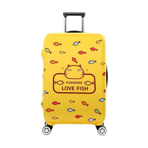 Yellow Cat Fish Prints | Standard Design | Luggage Suitcase Protective Cover - Small - Luggage Cover Encompass RL