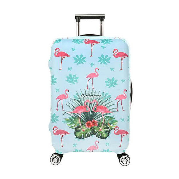 Pastel Blue Flamingo Leaves | Standard Design | Luggage Suitcase Protective Cover - Small - Luggage Cover Encompass RL