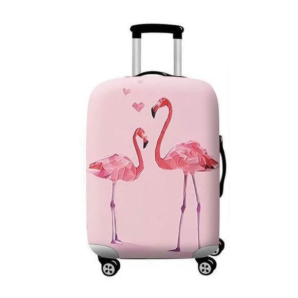 Pastel Pink Flamingo Lovers | Standard Design | Luggage Suitcase Protective Cover - Small - Luggage Cover Encompass RL
