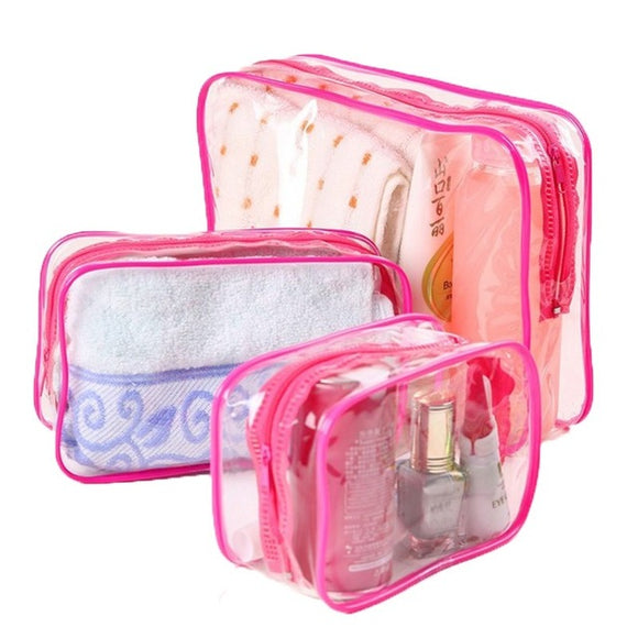Transparent Cosmetic Bag - Red - Travel Bags Encompass RL