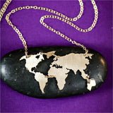 World Map Necklace - Yellow Gold - Wanderlust Gifts Encompass RL
