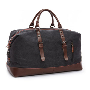 Canvas and Leather Weekend Tote Bag - Black - Travel Bags Encompass RL