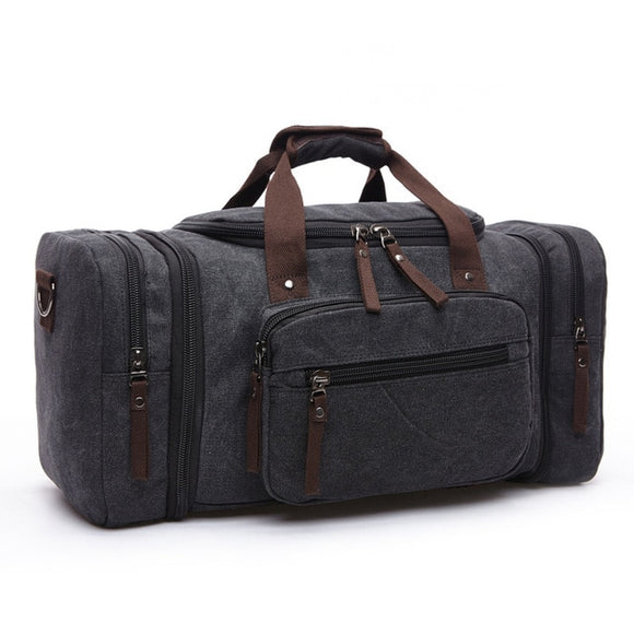 Canvas Travel Weekend Duffel Bag - Black - Travel Bags Encompass RL