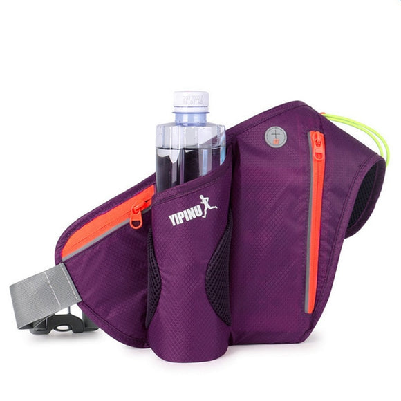 Multifunctional Outdoor Waist Belt Bag with Water Bottle Holder - Purple - Fitness Travel Encompass RL