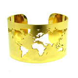 World Map Cut-out Cuff Bracelet - Shiny Gold - Wanderlust Gifts Encompass RL