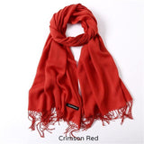 Solid Colors Pashmina Neck Scarf - Crimson Red - Winter Gear Encompass RL