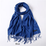 Solid Colors Pashmina Neck Scarf - Blue - Winter Gear Encompass RL