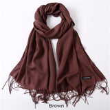 Solid Colors Pashmina Neck Scarf - Brown - Winter Gear Encompass RL