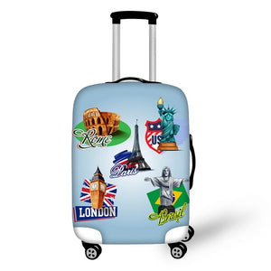 Landmark Printed Stamps #12 | Premium Design | Luggage Suitcase Protective Cover - Small - Luggage Cover Encompass RL