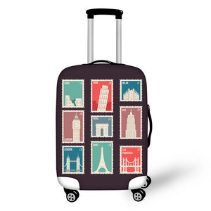 Landmark Printed Stamps #9 | Premium Design | Luggage Suitcase Protective Cover - Small - Luggage Cover Encompass RL