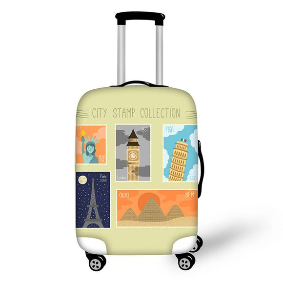 Landmark Printed Stamps #6 | Premium Design | Luggage Suitcase Protective Cover - Small - Luggage Cover Encompass RL