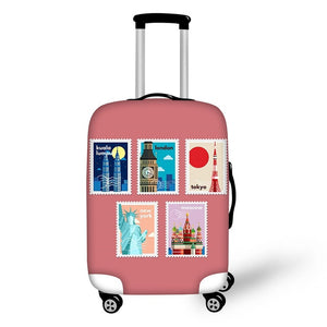 Landmark Printed Stamps #7 | Premium Design | Luggage Suitcase Protective Cover - Small - Luggage Cover Encompass RL