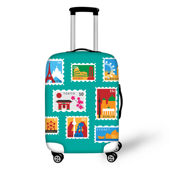 Landmark Printed Stamps #2 | Premium Design | Luggage Suitcase Protective Cover - Small - Luggage Cover Encompass RL