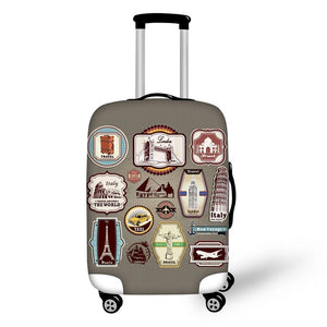 Landmark Printed Stamps #1 | Premium Design | Luggage Suitcase Protective Cover - Small - Luggage Cover Encompass RL