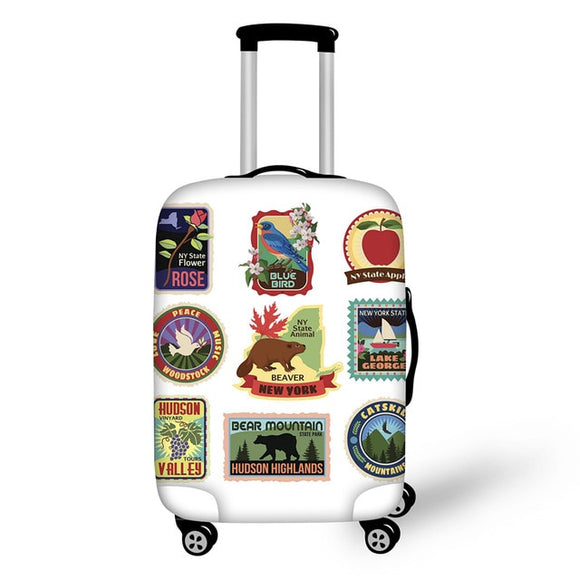 Landmark Printed Stamps #4 | Premium Design | Luggage Suitcase Protective Cover - Small - Luggage Cover Encompass RL
