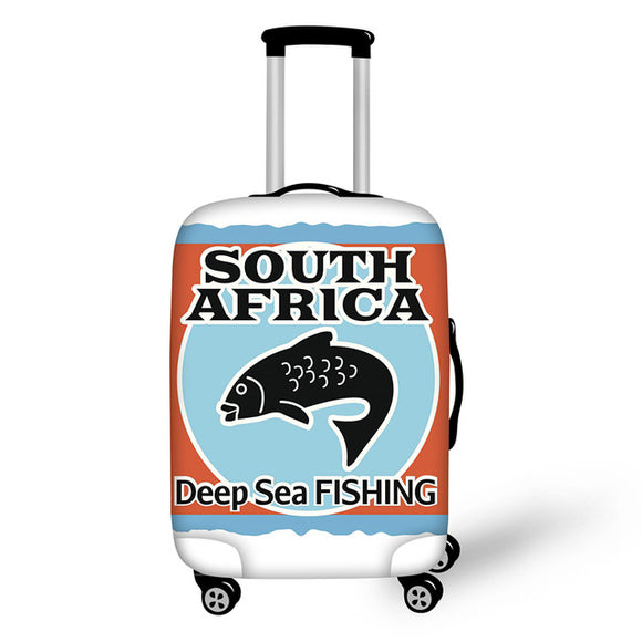 SOUTH AFRICA Deep Sea FISHING | Premium Design | Luggage Suitcase Protective Cover - Small - Luggage Cover Encompass RL