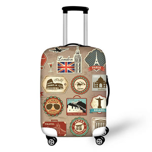 Landmark Printed Stamps #5 | Premium Design | Luggage Suitcase Protective Cover - Small - Luggage Cover Encompass RL