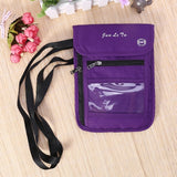 Purple RFID Blocking Travel Passport Holder Neck Wallet Neck Pouch | Traveling Document Organizer Purse