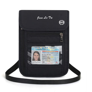 Blue RFID Blocking Travel Passport Holder Neck Wallet Neck Pouch | Traveling Document Organizer Purse