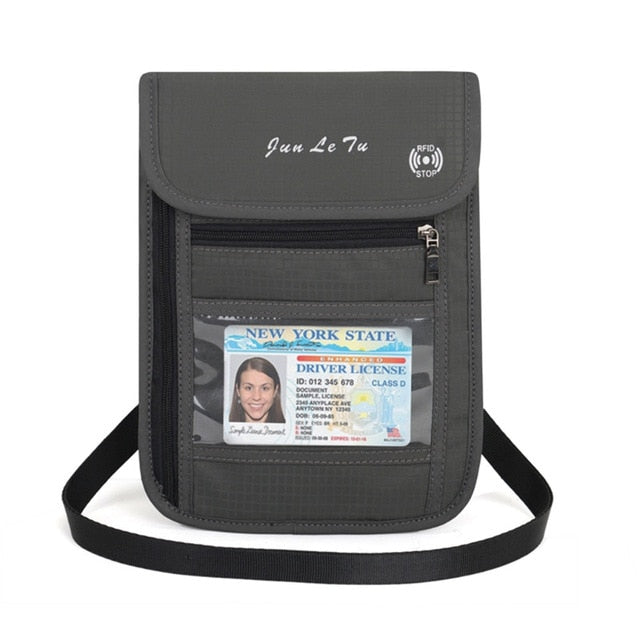 Travel Security Passport ID Holder w// Neck Strap Transparent Cover Mens Wallet