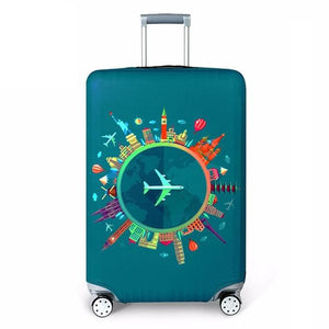 Travel Around The World | Standard Design | Luggage Suitcase Protective Cover - Large - Luggage Cover Encompass RL