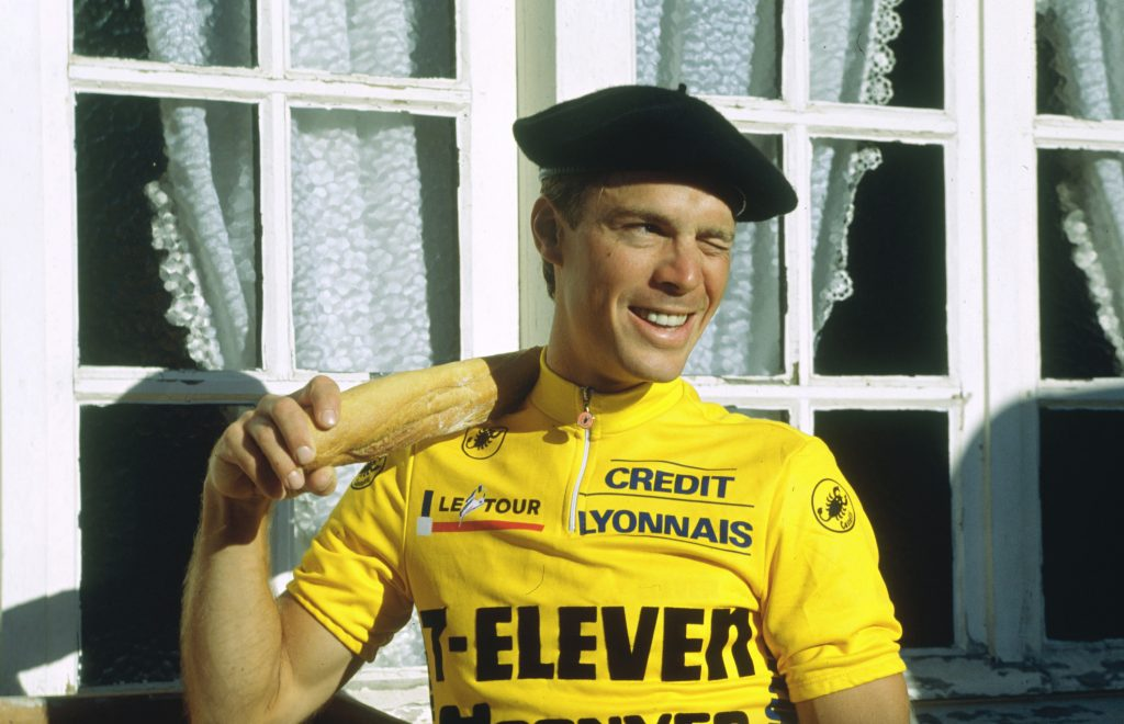 Steve Bauer in yellow jersey