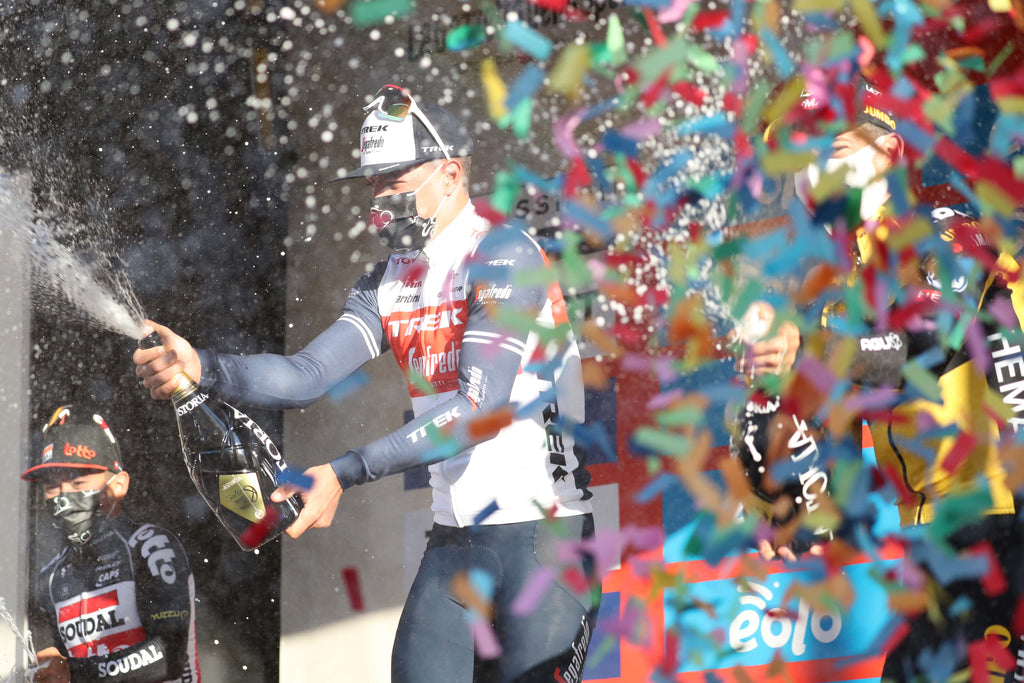 Stuyven celebrates his win