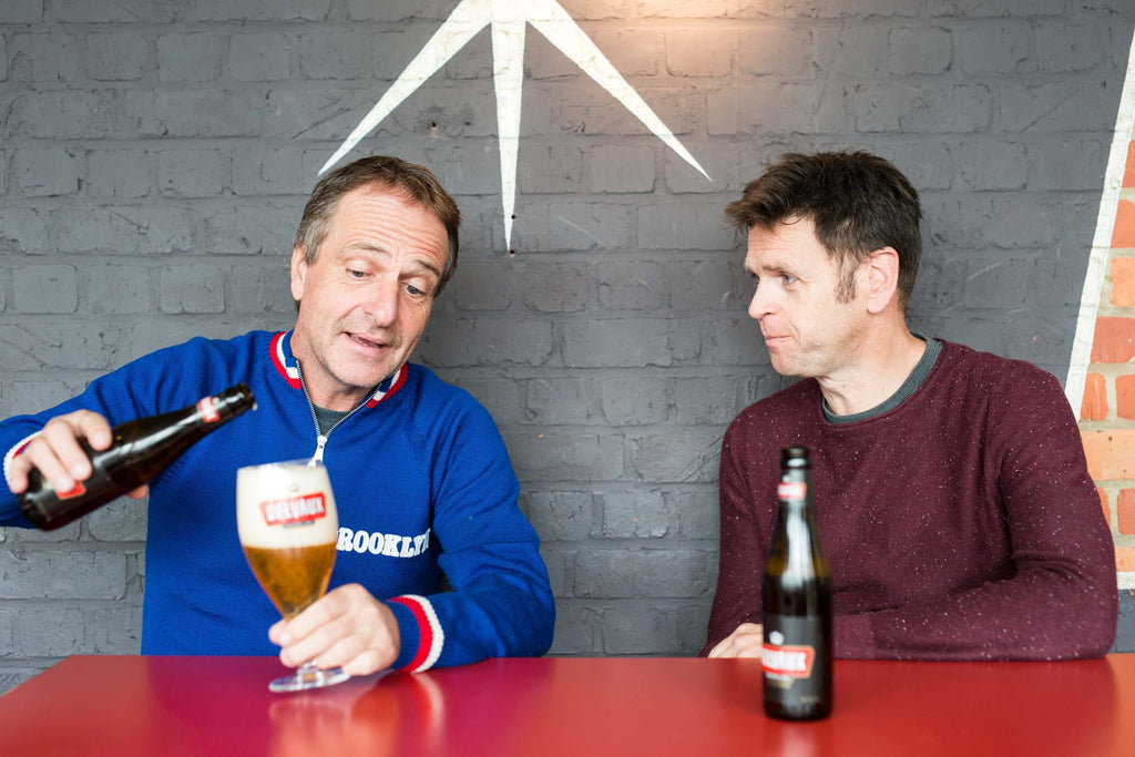 The duo discuss whilst drinking beer
