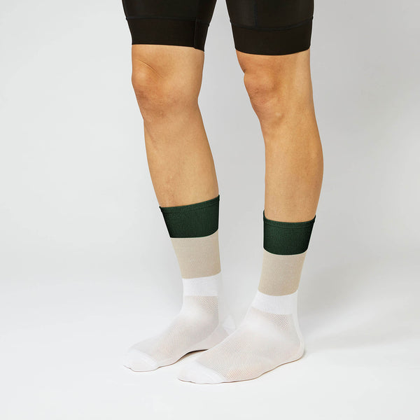 Fingerscrossed Socks - Block - Sand/White/Forest Green