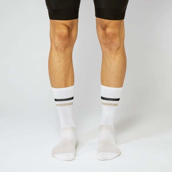 Fingerscrossed Socks - Stripes - White/Sand/Black