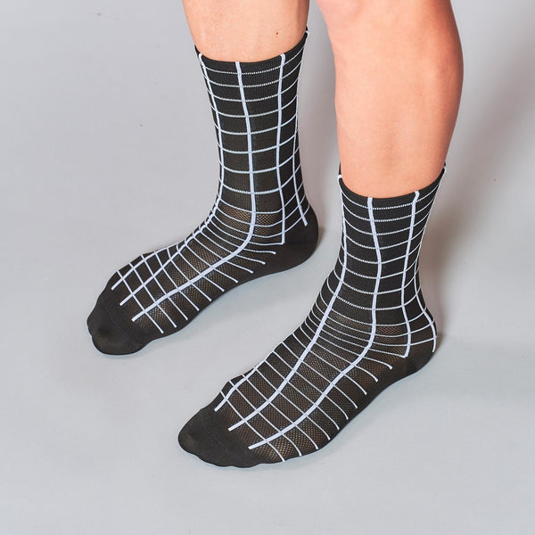Fingerscrossed Socks - Grid - Black - Rouleur