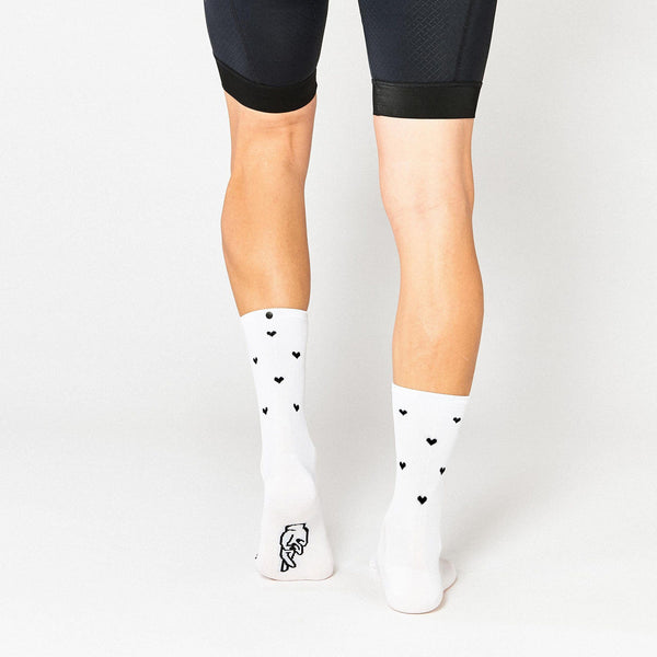 Fingerscrossed Socks - Hearts - White - Rouleur