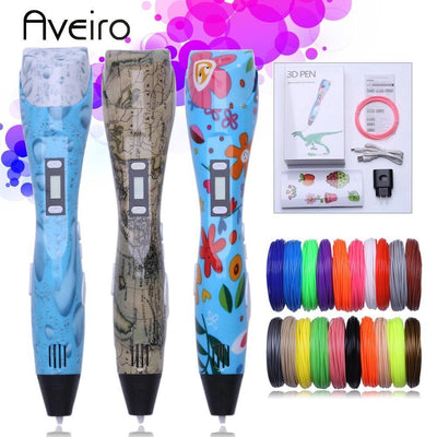 Original 3d pen 3d printing drawing pen DIY 3 d Printer pens with 10 Color 20colors 100/200 meter pla plastic for kid gift